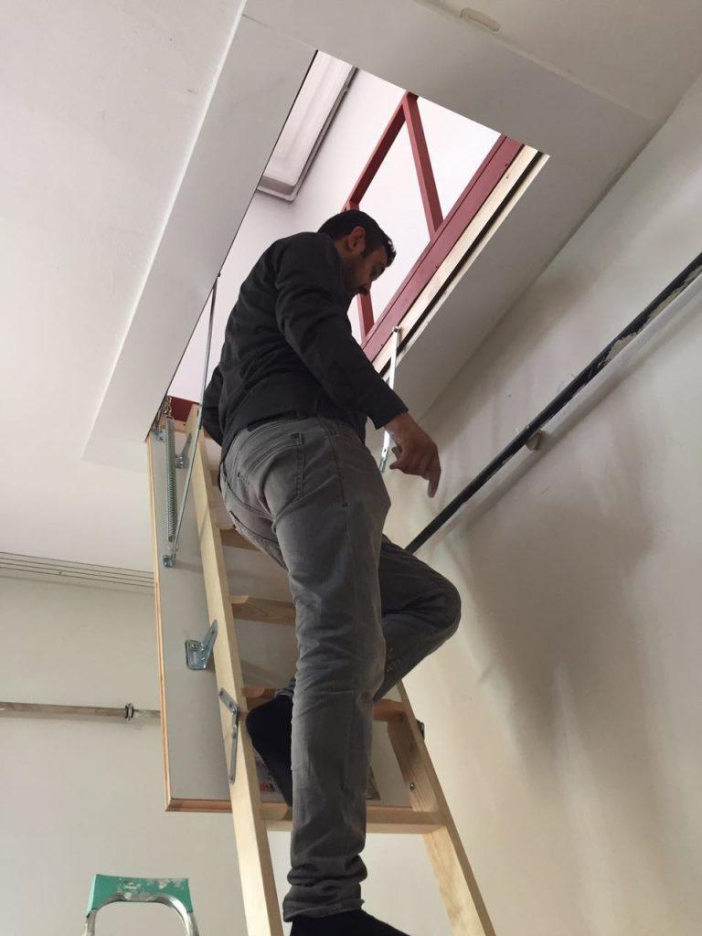 katlanır yeni ahşap çatı merdiveni