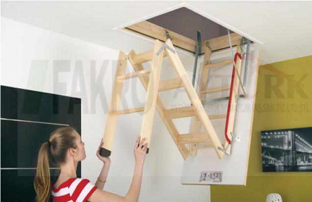 ucuz fakro ahşap çatı merdivenleri